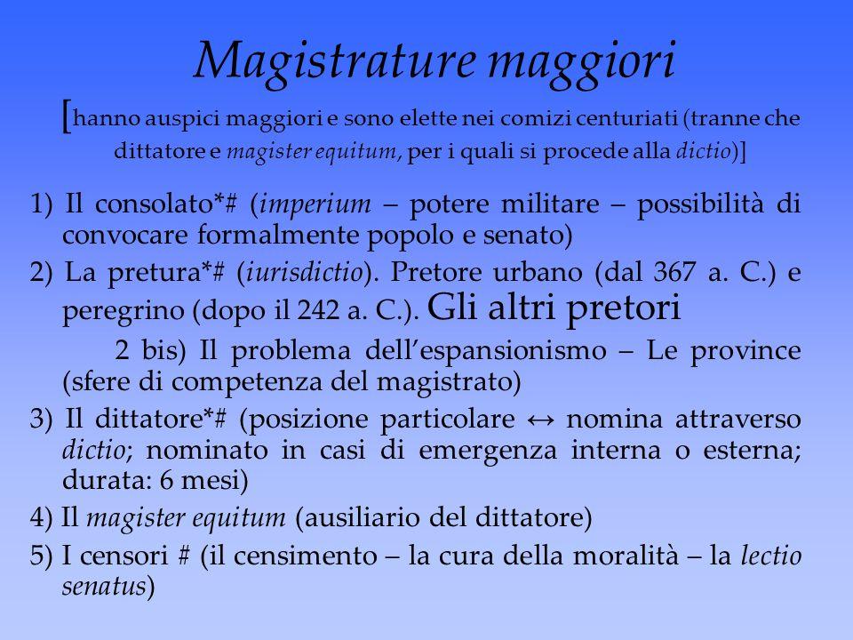 Magistrature maggiori [hanno auspici maggiori e sono elette nei comizi centuriati (tranne che dittatore e magister equitum, per i quali si procede alla dictio)]